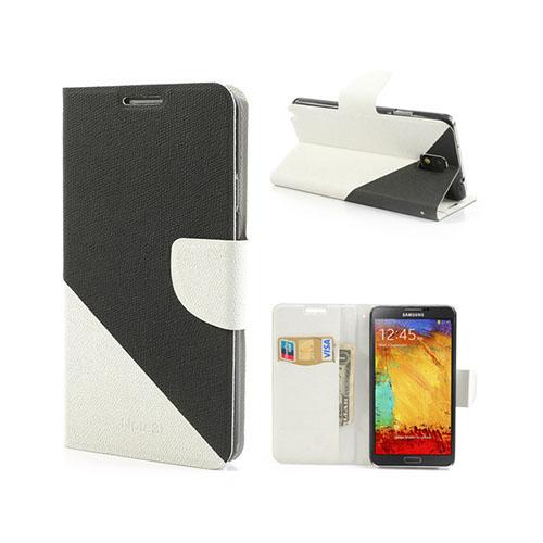 Diagonal (Svart / Vit) Samsung Galaxy Note 3 Läderfodral