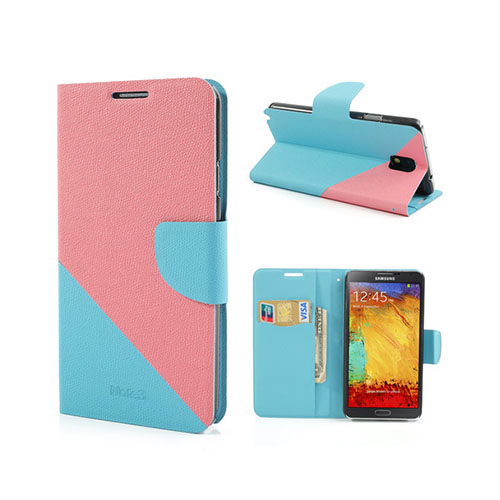 Diagonal (Ljus Rosa / Blå) Samsung Galaxy Note 3 Läderfodral