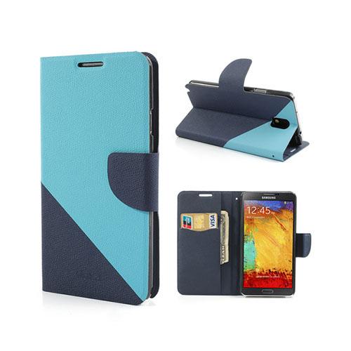 Diagonal (Ljusblå / Blå) Samsung Galaxy Note 3 Läderfodral