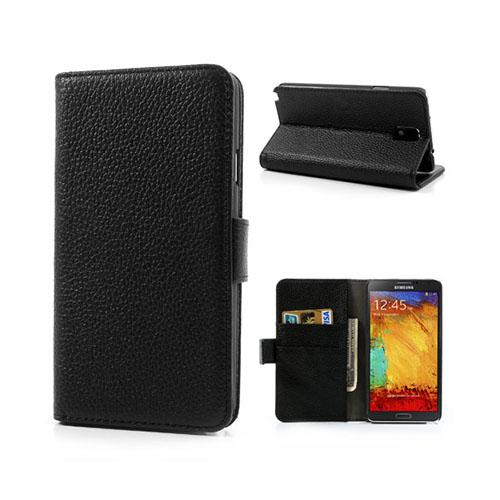LUX-CASE (Svart) Samsung Galaxy Note 3 Äkta Läderfodral