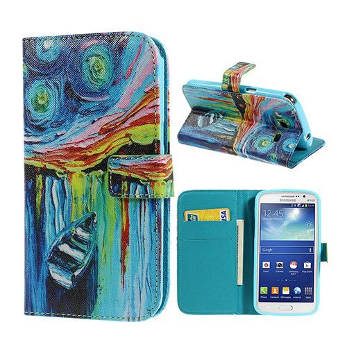 Van Gogh (Stjärnklar Natt & Båt) Samsung Galaxy Grand 2 Flip-Fodral