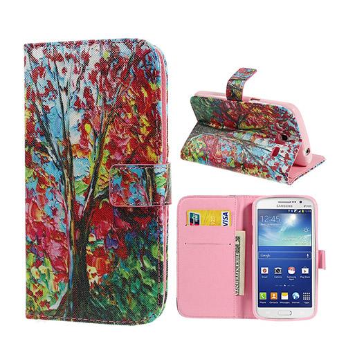 Van Gogh (Röda Löv) Samsung Galaxy Grand 2 Flip-Fodral