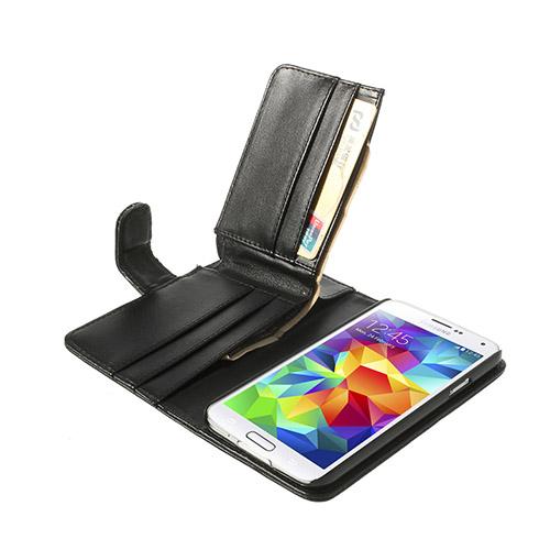 Wally (Svart) Samsung Galaxy S5 Leather Wallet