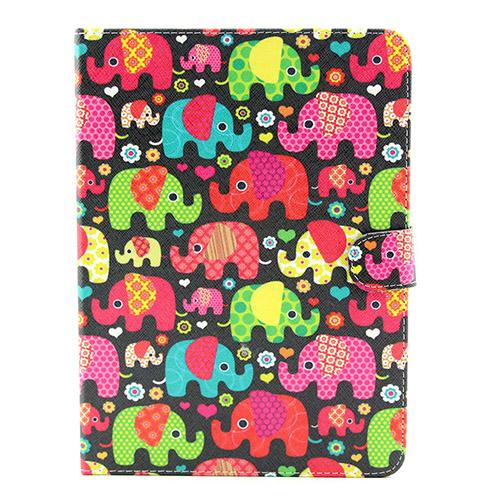 Solstad (Färgglada Elefanter) Samsung Galaxy Tab 4 10.1 Flip-Fodral