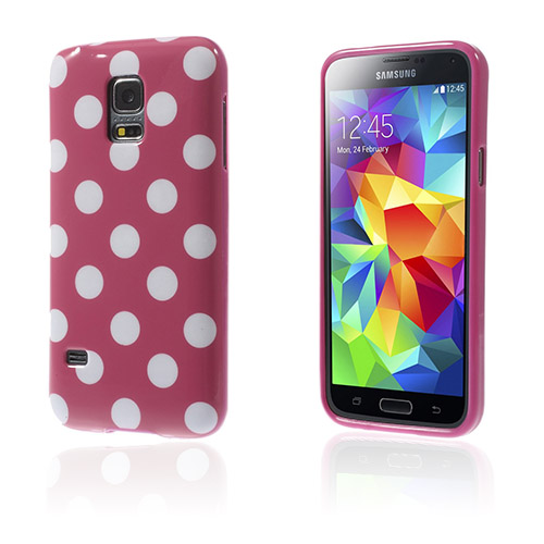 Polka (Knallrosa / Vita Prickar) Samsung Galaxy S5 Mini Skal
