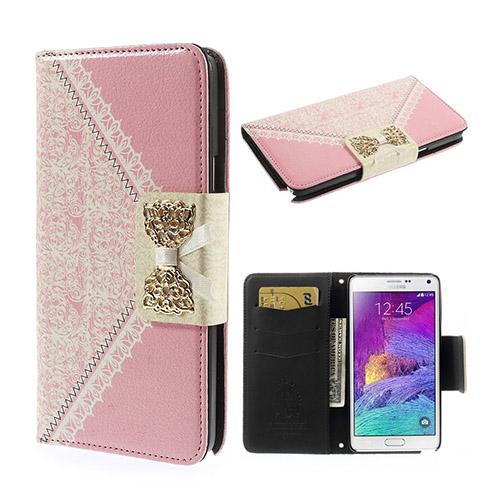 Bowknot (Rosa) Samsung Galaxy Note 4 Flip-Fodral