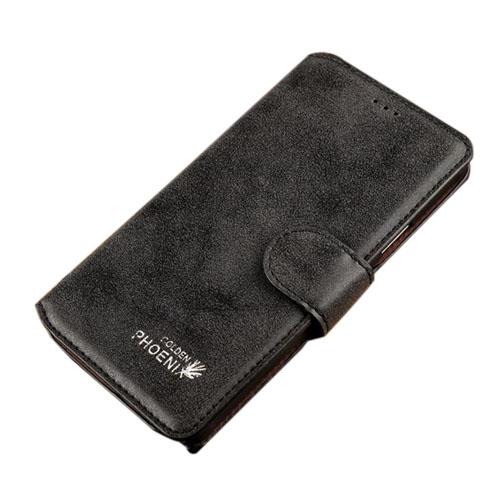 Golden Phoenix (Svart) Samsung Galaxy Note 4 Flip-Fodral (Äkta Läder)