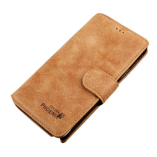 Golden Phoenix (Brun) Samsung Galaxy Note 4 Flip-Fodral (Äkta Läder)