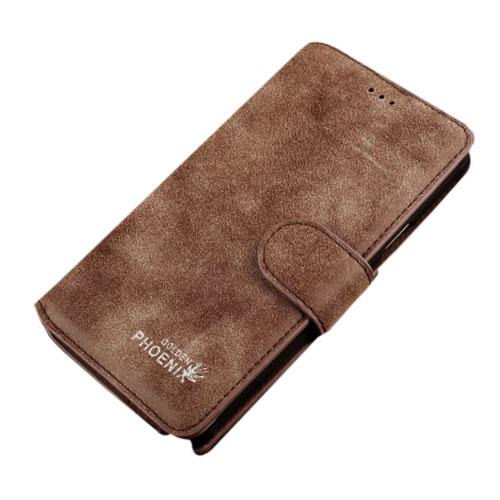Golden Phoenix (Kaffe) Samsung Galaxy Note 4 Flip-Fodral (Äkta Läder)