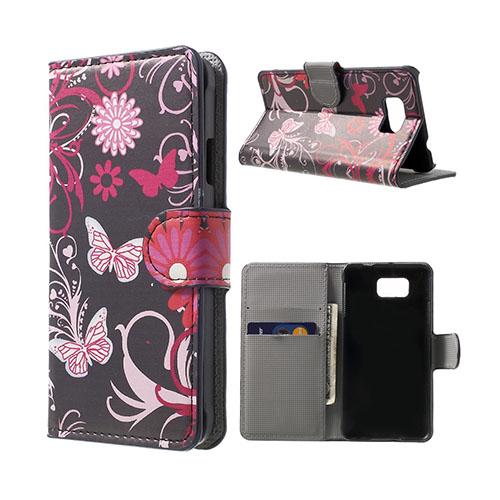 Moberg (Fjärilar & Blommor) Samsung Galaxy Alpha Flip-Fodral