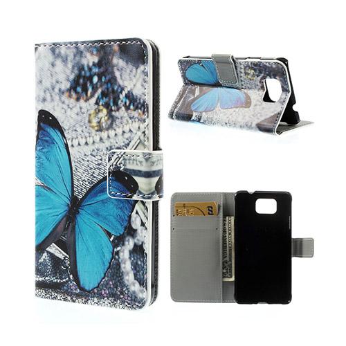 Moberg (Blå Fjäril) Samsung Galaxy Alpha Läder Flip Fodral