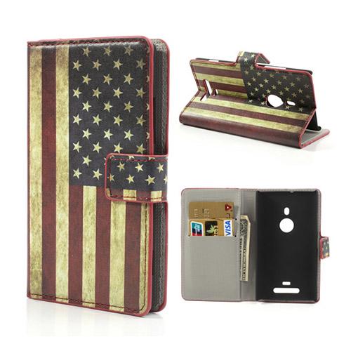 Moberg Nokia Lumia 925 Läder Flip Fodral – Vintage USA Flagga