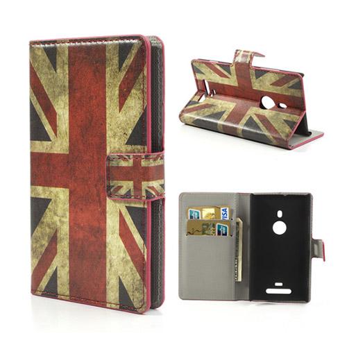 Moberg Nokia Lumia 925 Läder Flip Fodral – Vintage UK Flagga