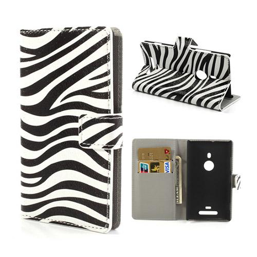 Moberg Nokia Lumia 925 Läder Flip Fodral – Zebra Ränder