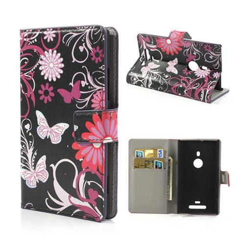 Moberg Nokia Lumia 925 Läder Flip Fodral – Fjärilar och Blommor