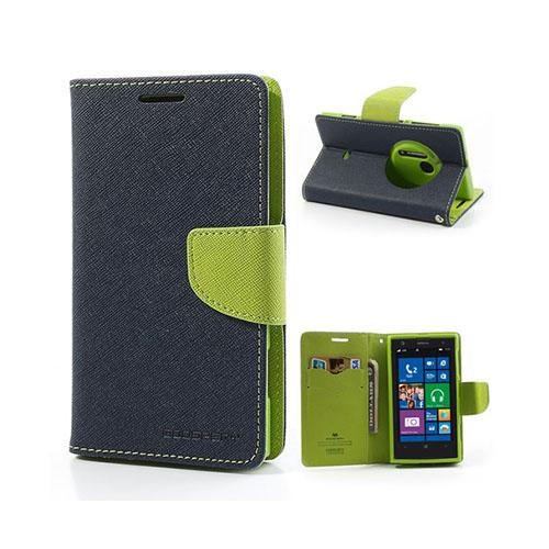 Mercury Nokia Lumia 1020 Läder Fodral med Korthållare – Mörk Blå / Grön