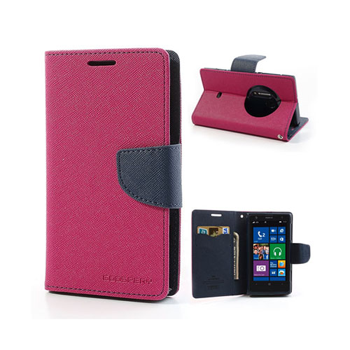 Mercury Nokia Lumia 1020 Läder Fodral med Korthållare – Hot Rosa / Mörk Blå