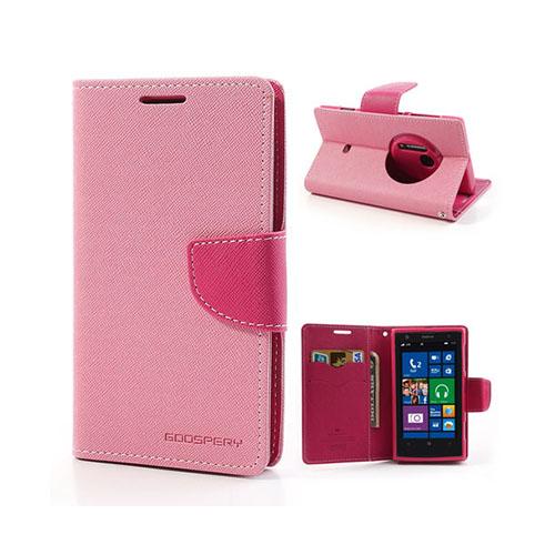 Mercury Nokia Lumia 1020 Läder Fodral med Korthållare – Rosa / Hot Rosa