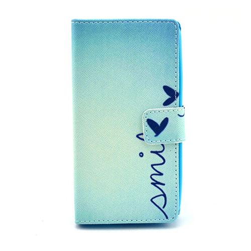 Moberg Nokia Lumia 630 Läderfodral med Plånbok – Blå Smile och Fjäril