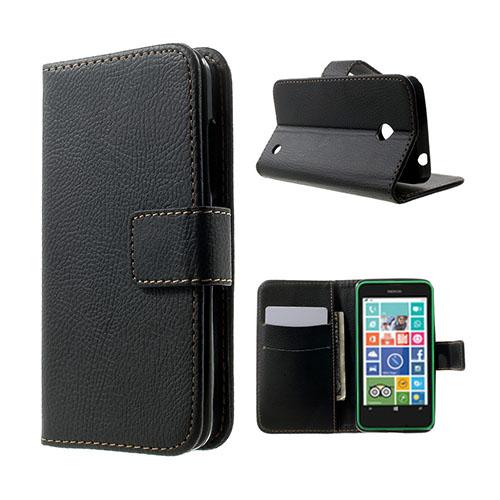 Moen Nokia Lumia 630 Läderfodral med Korthållare – Svart