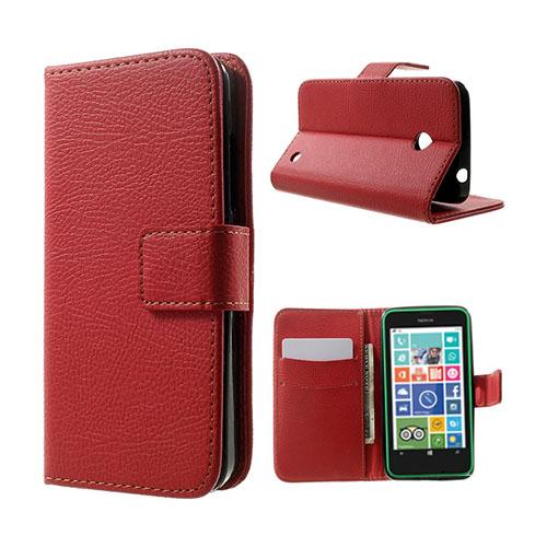 Moen Nokia Lumia 630 Läderfodral med Korthållare – Röd