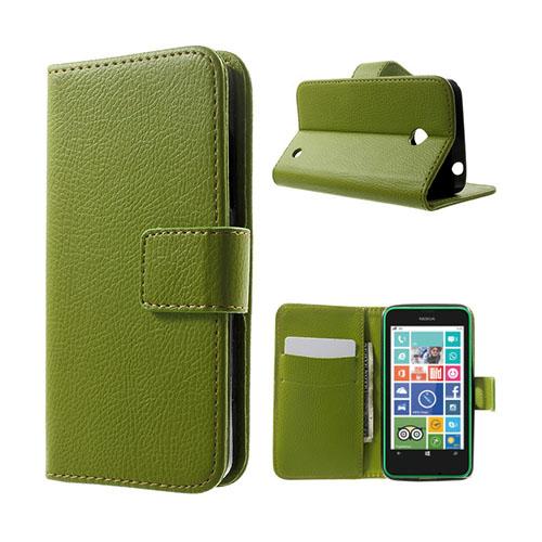 Moen Nokia Lumia 630 Läderfodral med Korthållare – Grön