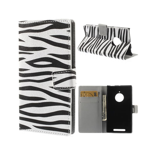 Moberg (Zebra) Nokia Lumia 830 Läder Flip Fodral