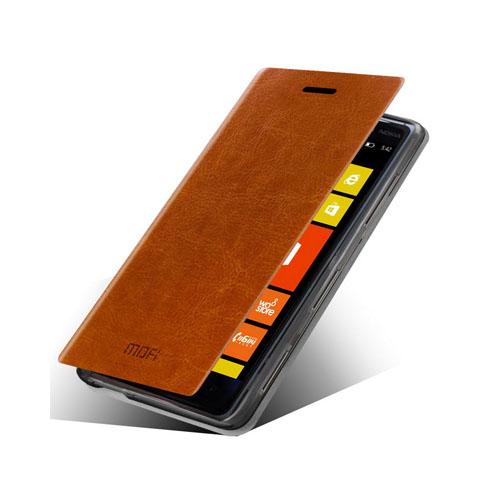 MOFI (Brun) Nokia Lumia 830 Läder Flip Fodral