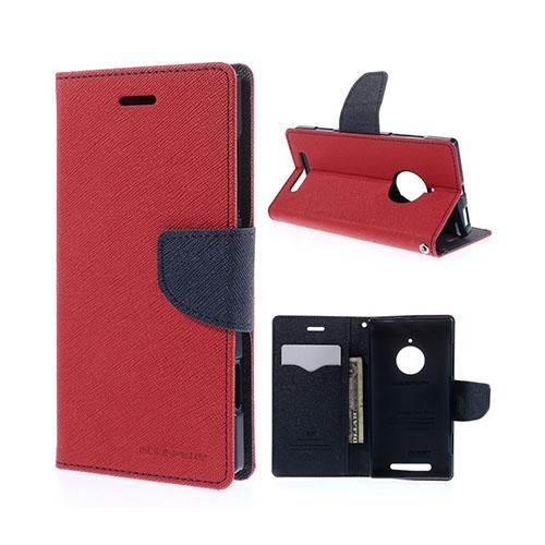 Mercury Nokia Lumia 830 Läder Fodral med Korthållare – Röd / Blå