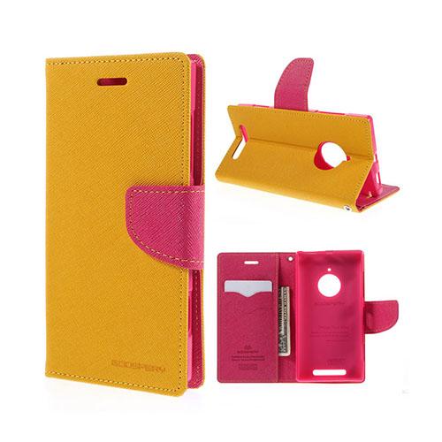 Mercury Nokia Lumia 830 Läder Fodral med Korthållare – Gul / Hot Rosa