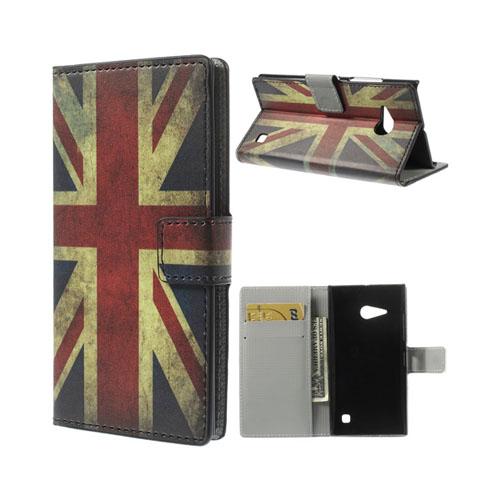 Moberg (Vintage UK Flagga) Nokia Lumia 730 Läder Flip Fodral