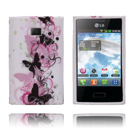 Symphony (Rosa Fjärilar) LG Optimus L3 Skal