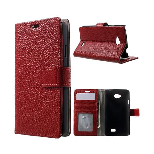 Cowhide (Röd) LG F60 Flip-Fodral (Äkta Läder)