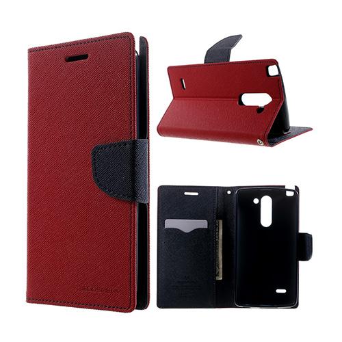 Mercury LG G3 Stylus Läder Flip Fodral – Röd