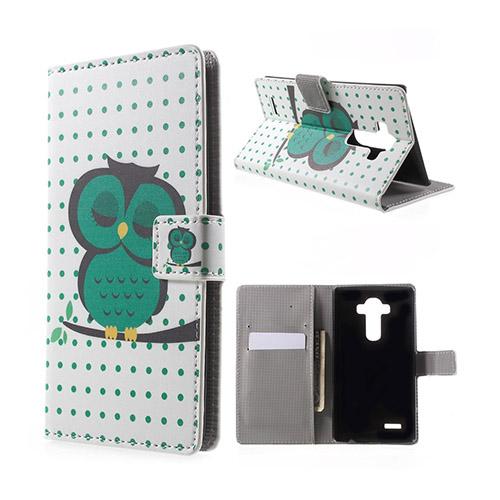 Moberg LG G4 Fodral med Plånbok – Grön Sovande Uggla