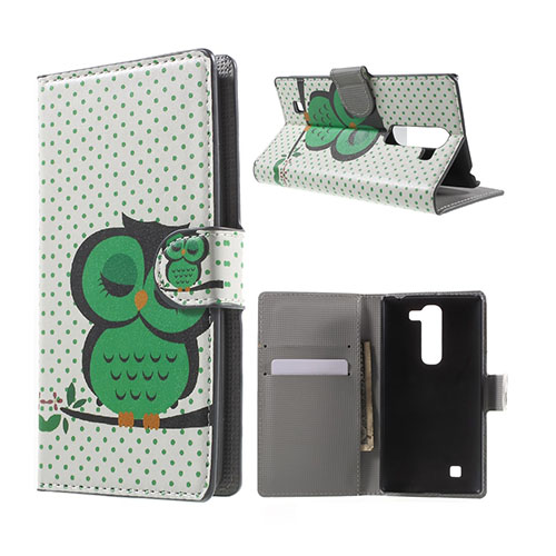 Moberg LG G4c Fodral med Plånbok – Grön Sovande Uggla
