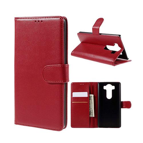 Leather Phoenix LG V10 Läderfodral med Stativ och Korthållare – Röd