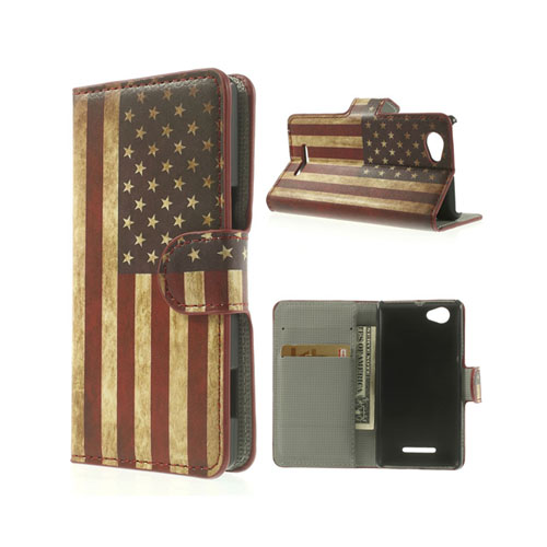Moberg (Vintage USA Flagga) Sony Xperia M Läder Flip Fodral