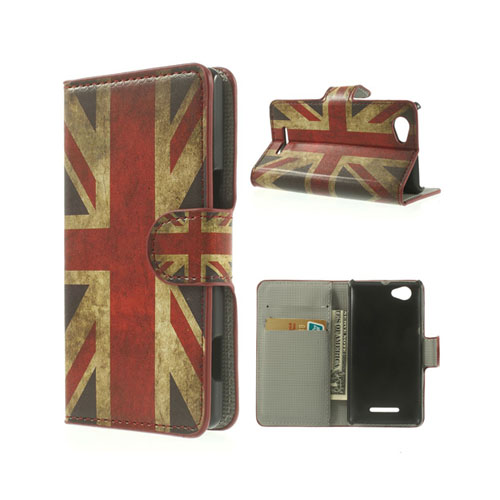 Moberg (Vintage UK Flagga) Sony Xperia M Läder Flip Fodral