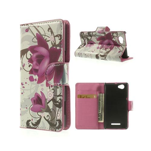Moberg (Elegant Lotus Blommor) Sony Xperia M Läder Flip Fodral