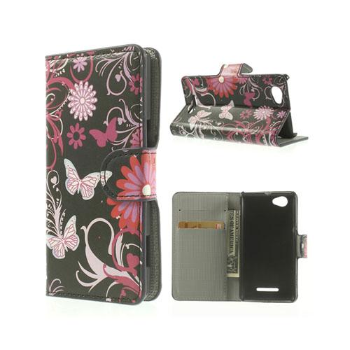 Moberg (Fjäril & Blommor) Sony Xperia M Läder Flip Fodral