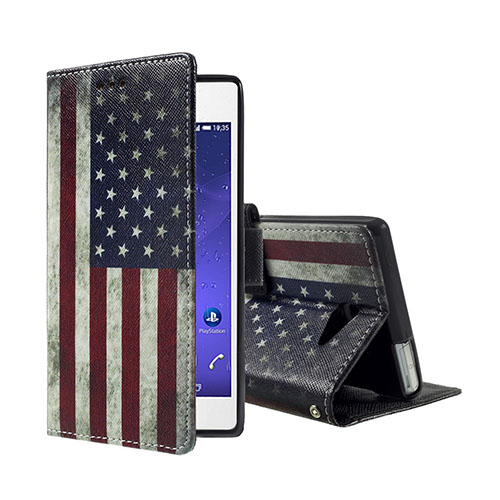 Moberg Sony Xperia M2 Aqua Läderfodral med Stativ – Vintage USA Flagga