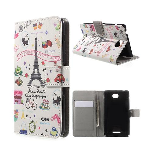 Moberg Sony Xperia E4 Fodral Med Plånbok – Cartoon Paris