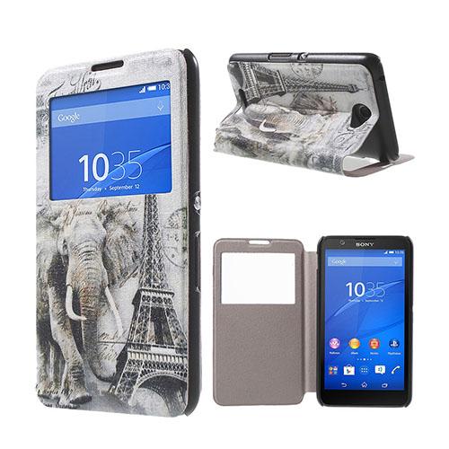 Moberg View Sony Xperia E4 Fodral & Plånbok – Eiffeltornet & Elefant