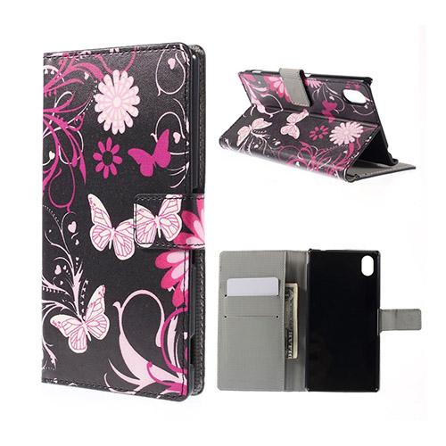 Moberg Sony Xperia M4 Aqua Läder Fodral med Korthållare – Fjärilar och Blommor