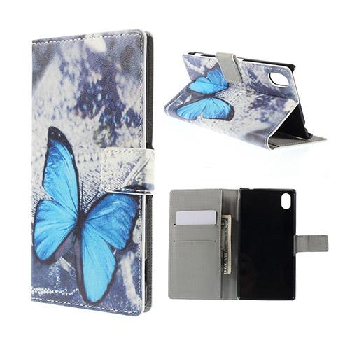 Moberg Sony Xperia M4 Aqua Läder Fodral med Korthållare – Blå Fjäril