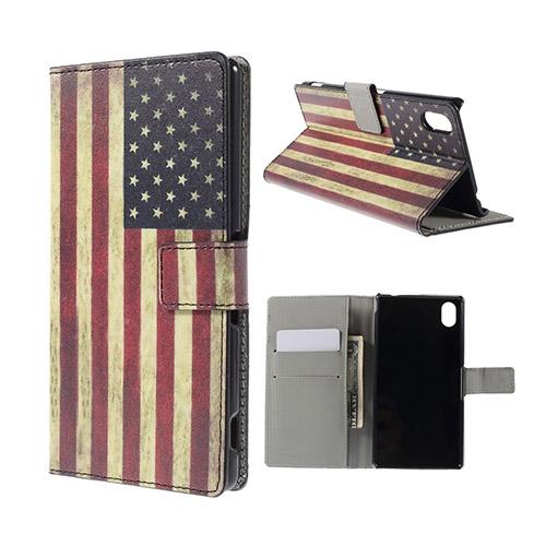 Moberg Sony Xperia M4 Aqua Läder Fodral med Korthållare – Vintage USA Flagga