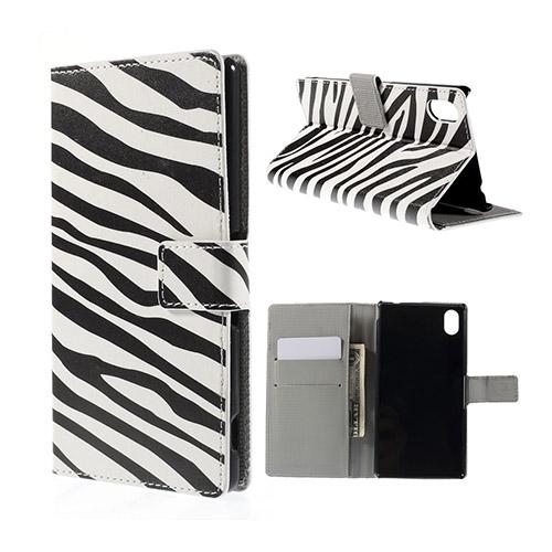 Moberg Sony Xperia M4 Aqua Läder Fodral med Korthållare – Zebra Ränder