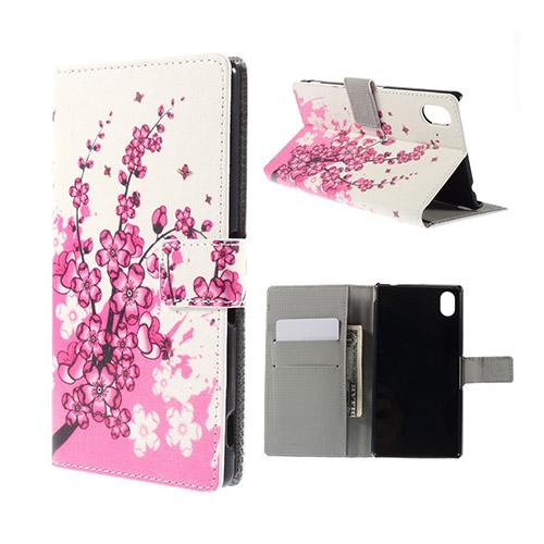 Moberg Sony Xperia M4 Aqua Läder Fodral med Korthållare – Blommande Plommon