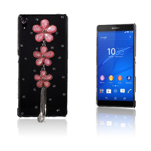 Shine Sony Xperia Z3+ Hårt Skal – Röd Diamant Blommor